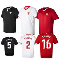 Wholesale Men S Sports Wear - 17 18 Sevilla Home Soccer Jerseys 2017 2018 NAVAS CORCHIA LENGLET Top Thai Quality Football Shirts Men's Short Sleeve Sports Wears Uniforms