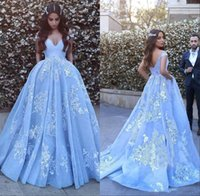 Wholesale Ice Blue Lace Dress - High Quality Ice Blue Lace Applique Ball Gown Prom Dresses 2017 New Custom Sexy Off Shoulder Sweep Train Evening Party Wear Arabic