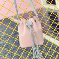 Wholesale Cheap Cute Cross Body Bags - Wholesale- LEFTSIDE PU Leather Handbag Cheap Crossbody Handbags Organizer Small Cute Bucket Bag Messenger Women Feminina Bags Bolsos