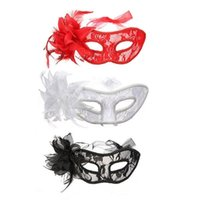 Wholesale Masque Eye - Hot sale Venetian Feather Lace Flower Eye Mask Masquerade Ball Costume Party Fancy Dress masque venitien MOQ:50PCS