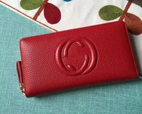 Wholesale Long Satin Bags - Free Shipping! Fashion designer clutch Genuine leather wallet with dust bag 308004