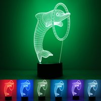 Wholesale Smart Home Switches - 3D LED Night Light Bedroom Decorative Dolphin Table Lamp Smart Home Simple Fashion Birthday Party Atmosphere Lamps 28rm