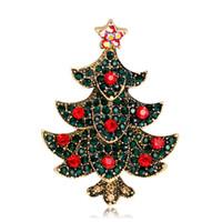 золотая хрустальная елка оптовых-Мода Рождественская елка брошь античное золото / серебро брошь булавки красный зеленый кристалл стразами броши для женщин рождественские украшения в подарок