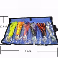 Wholesale Skirt Baits - SET of 6 Pusher style Marlin   Tuna Mahi Dolphin Durado Wahoo Trolling skirt Lures. Rigged and bag included tuna 8.5 inch