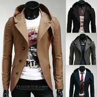 Wholesale Small Breast Men - Wholesale- 2016 new stylish warm Fashion men trench coat Small suit men's cultivate one's morality even cap