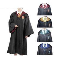 Wholesale Movie Costumes For Adults - New 2017 Harry Potter Robe Gryffindor Cosplay Costume Kids Adult Harry Potter Robe Cloak Halloween Costumes For Kids Adult b919