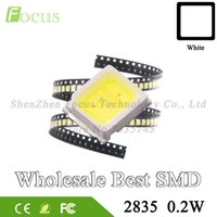 ingrosso diodi di montaggio superficiale-Commercio all'ingrosso 4000Pcs LED SMD 2835 Chip 0.2W 22-24LM Bianco 2835SMD LED Lampada a diodi SMT Surface Mount SMD2835 LED Beads