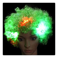 Atacado Fancy LED Light Curly HairWigs Halloween Costume Party Supplies Nova cosplay Unisex Clown Mask Hogard Christmas Gift