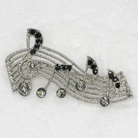 Atacado Fashion Brooch Rhinestone Music Note Pin broches Jóias Gift C101279