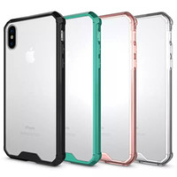 Wholesale Crystal Iphone Black - For iPhone X 8 7 6 6s 6sPlus Armor Case Crystal Clear Hybrid Phone Case For Samsung Note8 S8 S8Plus S7 Bumper Cover