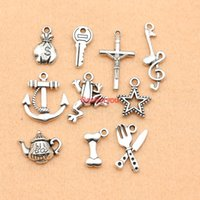 Grossiste-Mixed Antique Silver Plated Anchor Star Teapot Note de musique Charms Pendant Jewelry Making Diy Charm Handmade Crafts M067