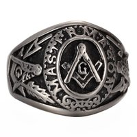Wholesale Signet Silver - Jewelry Men's stainless steel Masonic Vintage Ring Large G Mason Master Freemason  Master mason Vintage signet Ring silver black