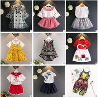 Wholesale Summer Two Piece Lace Set - 37 Design Baby Girls Clothing Outfits 2017 Summer Lace Floral Girls Clothing Sets Two Piece Suit Cotton Outwear Sets Infant Toddler Clothes