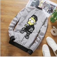 Wholesale Thin Cartoon Characters - spring and autumn label cartoon jacket men's large size thin section the youth jacket fashion casual men high-quality fine workmansh