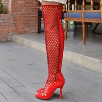 Wholesale Size 32 Boots - Big small size 32 to 44 sexy women men high heel thigh long boots zipper lacing hollow out over the knee boots