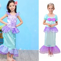 Wholesale little mermaid cosplay - Summer The Little Mermaid Ariel Kids Girl Dresses Princess Cosplay Halloween Costume Girls Dress free shipping