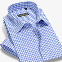 camisas de manga curta xadrez 4xl venda por atacado-Atacado- camisa xadrez de bambu homens de manga curta camisas de vestido de moda de marca formal de negócios masculino camisa casual plus size 4xl verão estilo magro