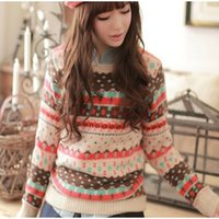 Wholesale womens christmas knit sweaters - Wholesale-2016 Women Autumn Fashion O-Neck Floral Printed Knitting Christmas Cute Womens Jumpers Knitted Sweater Pullover Pull Femme BS920