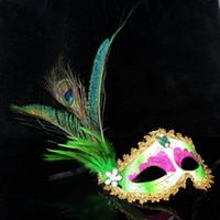 Wholesale Elegant Mardi Gras Masks - new Party Masks halloween 6 Color Half Face Elegant Pheasant peacock Feather Venetian Masquerade mask Mardi Gras mask for ball party #H43