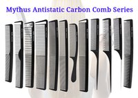 Wholesale Comb Hair Carbon - 12 Pcs Mythus Series Pro Hair Combs In Different Design Salon Stylist Carbon Fibre Hairdressing Comb Set For Hair Cutting