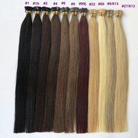 hint remy insan saç sarışın toptan satış-ELIBESS Hint Bakire Remy İnsan Saç Düz Uzantıları Düz İpucu Fusion Saç 1 g / strand 100 adet / grup Siyah Kahverengi Sarışın
