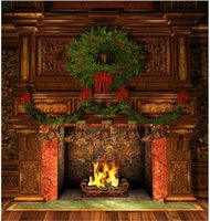10x10ft Digital Christmas Backdrops Camera Vintage Camera Fotocamera Green Pine Tree Calze Indoor Indoor Fireplace Pavimento in legno