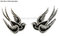 Wholesale Black White Tattoo Ink - BLACK & WHITE SWALLOWS PAIR Tattoo Ink Chic Rock Punk Rockabilly iron on patch heavy metal Metal Core band Biker Vest badge