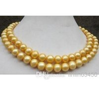 Wholesale 35 inch south sea pearls resale online - 35 inch mm genuine south sea golden pearl necklace k Gold