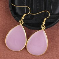 Wholesale White Gems Shell - musiling Jewelry Natural Stone Drop Earrings Gold Plated Water Drop Gem Stone Earring Crystal White Shell etc Accessories Jewelry For Women