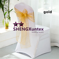 Wholesale Nylons Spandex Chair Covers - Hot Sale White Spandex Chair Cover With Gold Organza Chair Sash \ Lycra Chair Cover For Wedding