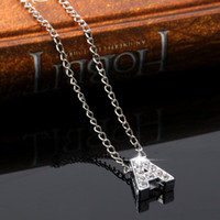 Wholesale English Alphabet Letters - A-Z English Alphabet Letter Necklace Diamond Crystal Initials Letter Pendants For Women Girls Fashion Jewelry Gift