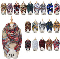 Wholesale New Scarves Plaid Blanket Scarf Women Tartan Tassels Scarf Grid Shawl Wrap Lattice Neckchief Cashmere Muffler Fashion Winter Check Pashmina