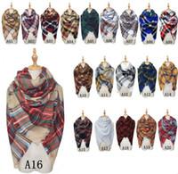 Wholesale Tartan Cashmere Scarves Wholesale - New Scarves Plaid Blanket Scarf Women Tartan Tassels Scarf Grid Shawl Wrap Lattice Neckchief Cashmere Muffler Fashion Winter Check Pashmina