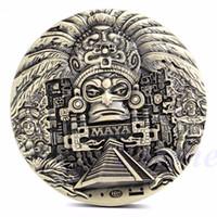 Wholesale Antique Aztec - 1x Mayan Aztec Calendar Souvenir Prophecy Commemorative Coin Art Collection Gift