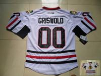 jersey de blackhawks vintage al por mayor-Vintage Chicago Blackhawks 00 jerseys del hockey Blanca Clark Griswold vendimia barato Clark Griswold cosido de hockey sobre hielo de los jerseys S-XXXL