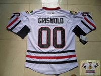 jersey de clark griswold al por mayor-Vintage Chicago Blackhawks Hockey Jerseys 00 Clark Griswold Vintage blanco barato Clark Griswold Stitch Hockey sobre hielo Jerseys S-XXXL