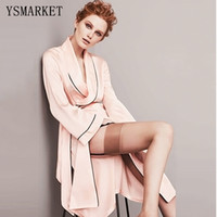 Wholesale Babydoll Lingerie Gown - Wholesale- Silk Satin Robe Dressing Gown for Women Pajamas Sleepwear Hot Sexy Lingerie Babydoll Nightgowns Kimono Bathrobe with Belt H60575