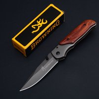 Wholesale Retail Gift Packaging - Folding knife Browning 6 Inch Folding EDC Pocket Knife Wood Handle With Retail Package Box 3.5 Inch Closed Christmas Gift Knives B479Q