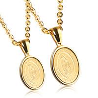 colares abençoados venda por atacado-Medalha Milagrosa Mãe Santíssima Virgem Colar Colar Maria em aço inoxidável