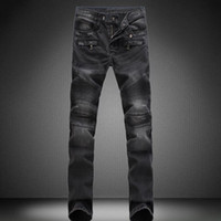 Wholesale Jeans Pant Folding - 8 color 2017 New Style High Quality Men's Fashion Fold Elastic Large Size Jeans Pure Cotton Cultivate One's Morality Pants Size 28 -42