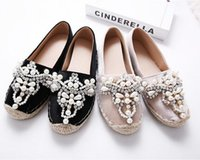 Wholesale Pink Pearls Sewing - Fall Women's Loafer Loafer Round Toe Hemp Pearl Comfortable Bottom Frisherman Shoes Women's Shoe Slip from PINK COLOR