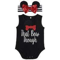 Wholesale Baby Minnie Mouse Romper - Minnie Mouse Black Romper + Headband 2Pcs Cute Baby Suit Toddler Clothes Set Sleeveless Suit Girl Pageant Sunsuit Cotton Jumpsuit 0-24M