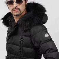 Wholesale Fox Fur Coats Men - M8 Brand Men down jacket thickening down parkas 100% real Fox fur collar hood down coat Black color size S-XXXL