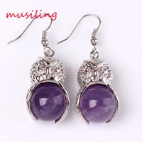 Wholesale 14mm white stone beads - musiling Jewelry 14mm Bead Owl Long Earrings Drop Natural Gem Stone Jewelry Amethyst Opal etc Earrings For Women Charms Fashion Jewelry