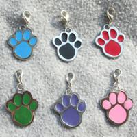 Wholesale Dog Paw Tags Wholesale - 100pcs lot Paw design Zinc Alloy Dog ID Tags Blank Pet Dog Hang pendants diamond engravable