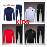 Wholesale Boys Training Pants - AAA+ QUALITY 2016-17 city KIDS BOYS france Portugal national team soccer chandal football tracksuit training suit skinny pants Sportswear