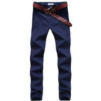 Wholesale Male Korean Style Clothing - Wholesale- Men Casual Pants Fashion Korean Style Solid Straight Slim fit Khaki Pants Summer Brand Cotton Male Clothing Jogger Trousers z5