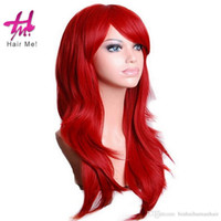Wholesale Red Hair Wigs Wholesale - Newest Synthetic Full Front Straight Cosplay Wigs 70cm Synthetic Heat Resistant Fiber Wigs High Density Hair Wigs