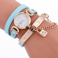 Moda Mulheres Long Straps Lock Chain Bracelet Watch 2017 Novas no atacado Casual Ladies Leather Dress Quartz Relógios de pulso para Lady