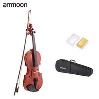 Wholesale Instrument Music - Wholesale-ammoon 1 4 1 2 3 4 4 4 Natural Acoustic Violin Fiddle Spruce with String Case Arbor Bow Stringed Instrument for Music Lovers